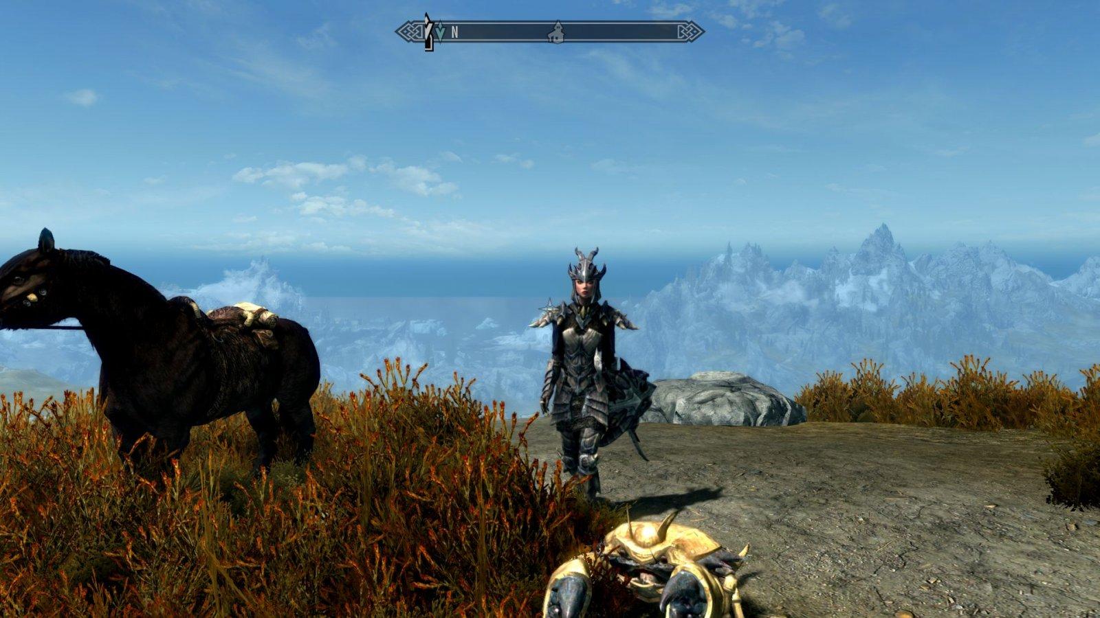 Serana, a horse, and a dwemer mudcrab.