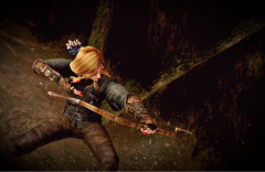 Shooting Orcs in Halted Stream camp.  Nico's 'Bowgasm' Dragon bone bow.  Vanilla output, lovely custom finish